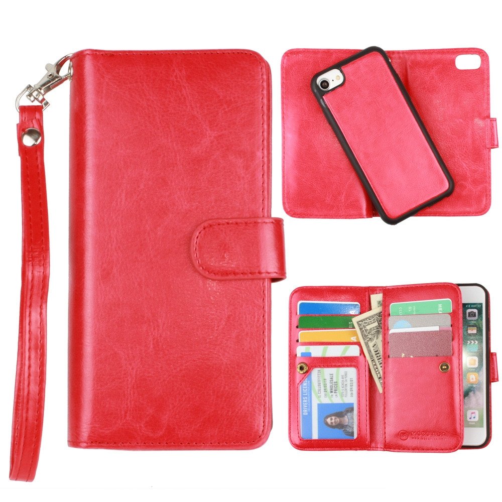 Apple iPhone 6s -  Multi-Card Slot Wallet Case with Matching Detachable Case and Wristlet, Red