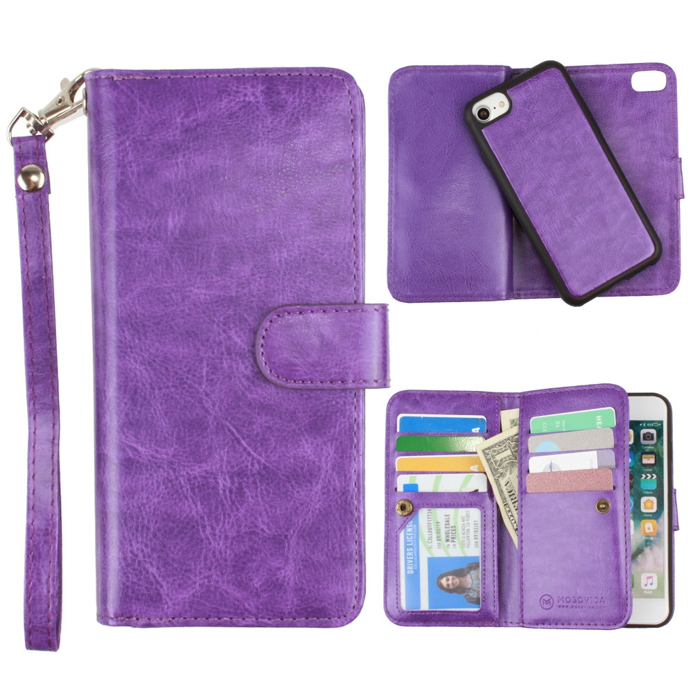 Apple iPhone 6s -  Multi-Card Slot Wallet Case with Matching Detachable Case and Wristlet, Purple