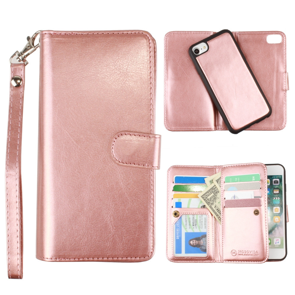 Apple iPhone 6s -  Multi-Card Slot Wallet Case with Matching Detachable Case and Wristlet, Rose Gold