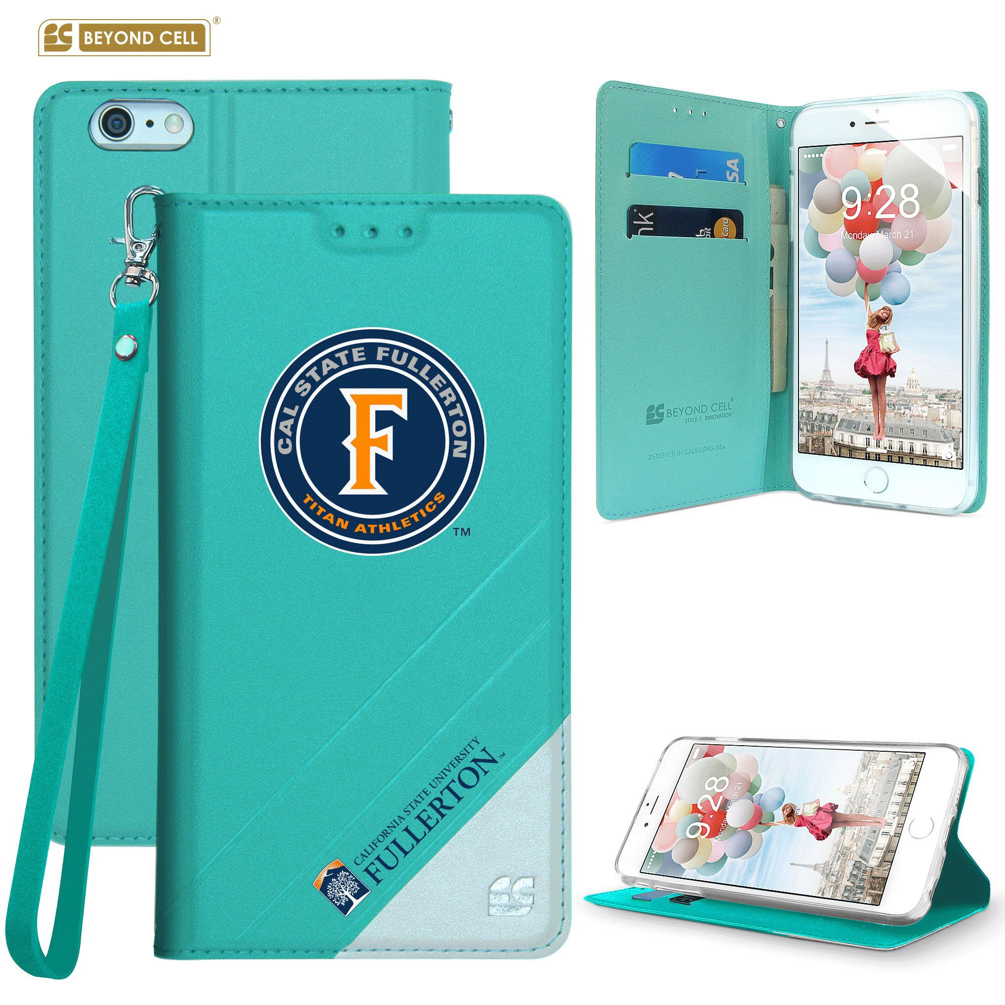 Apple iPhone 6/6s - Licensed Cal State Fullerton Folding Wallet case with card slots and wristlet, Teal