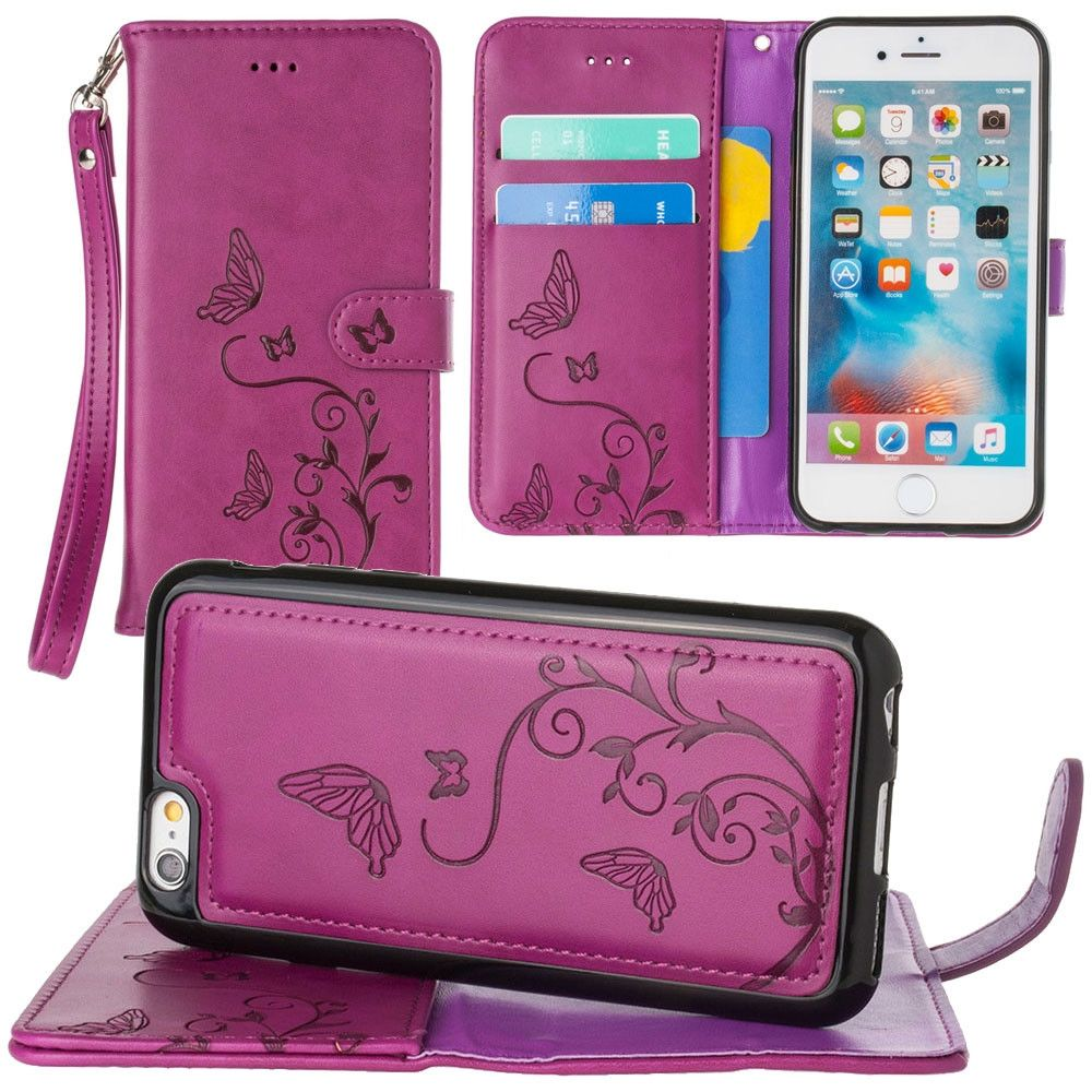 Apple iPhone 6s -  Embossed Butterfly Design Wallet Case with Detachable Matching Case and Wristlet, Magenta
