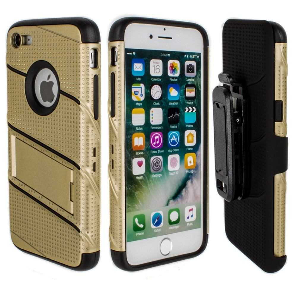 Apple iPhone 6/6s - RoBolt Heavy-Duty Rugged Case and Holster Combo, Gold/Black