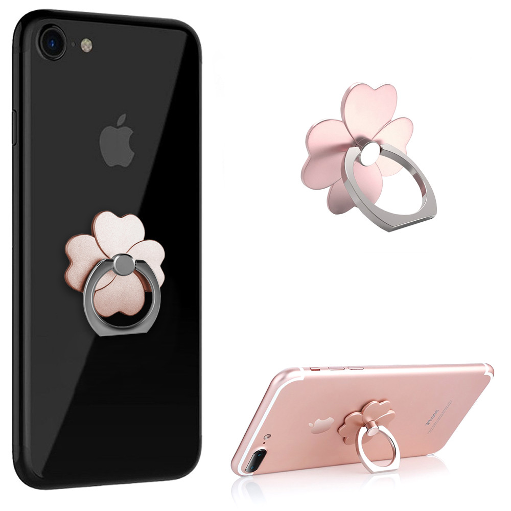 Apple iPhone 6s -  Universal Metallic Clover Design Ring Grip and Stand Holder, Rose Gold