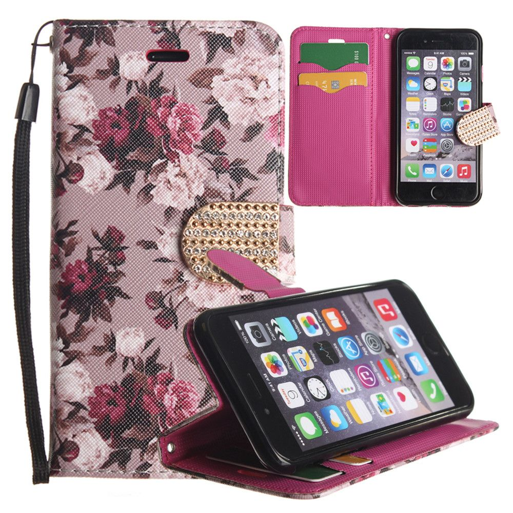 Apple iPhone 6/6s - Romantic Rose Shimmering Folding Phone Wallet, Pink/White