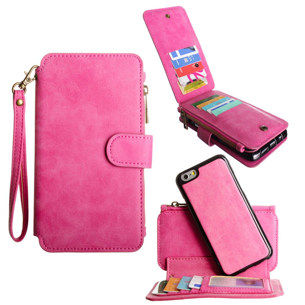 Apple iPhone 6/6s - Luxury Wallet with Removable Case and Flap Card Holder, Hot Pink