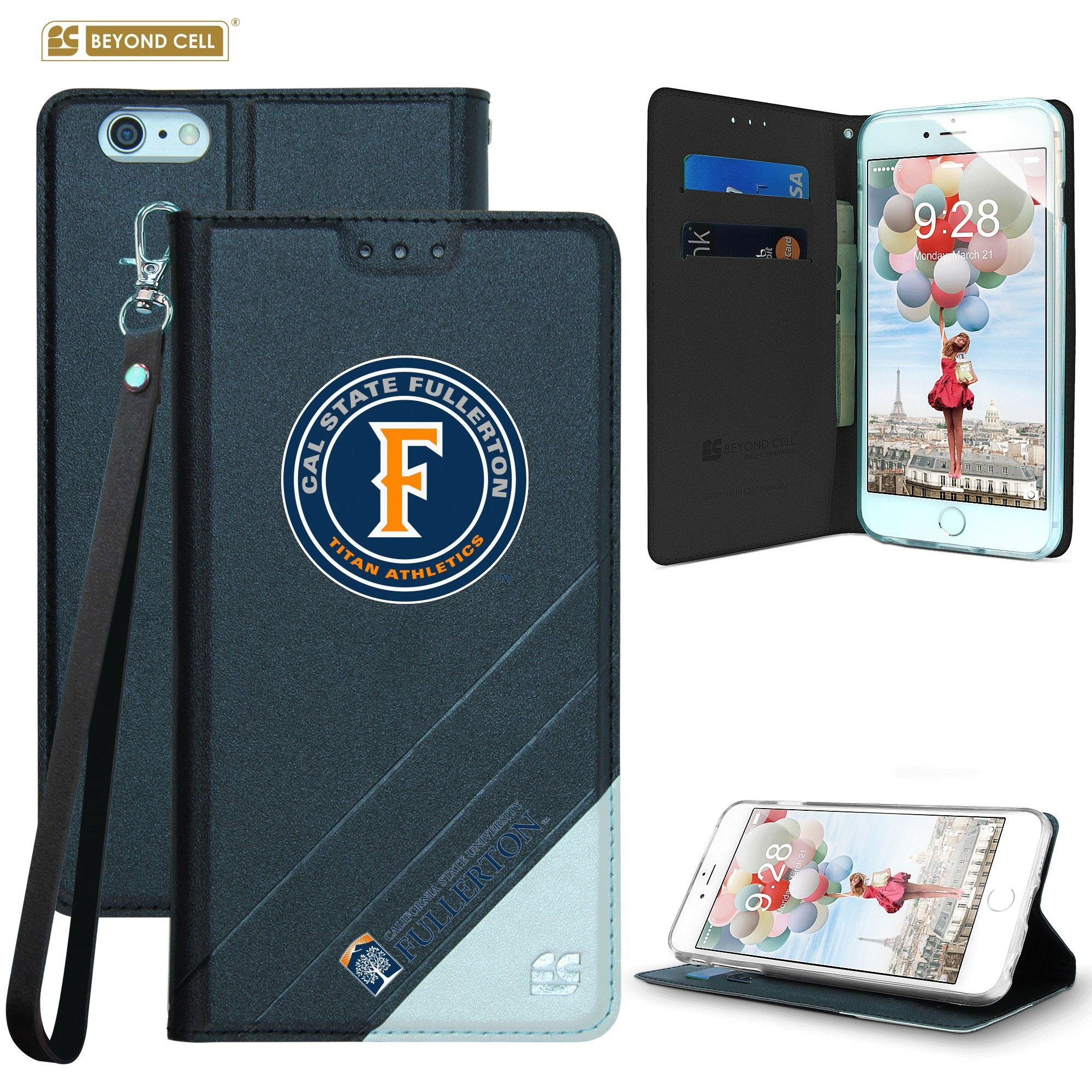 Apple iPhone 6/6s - Licensed Cal State Fullerton Folding Wallet case with card slots and wristlet, Black