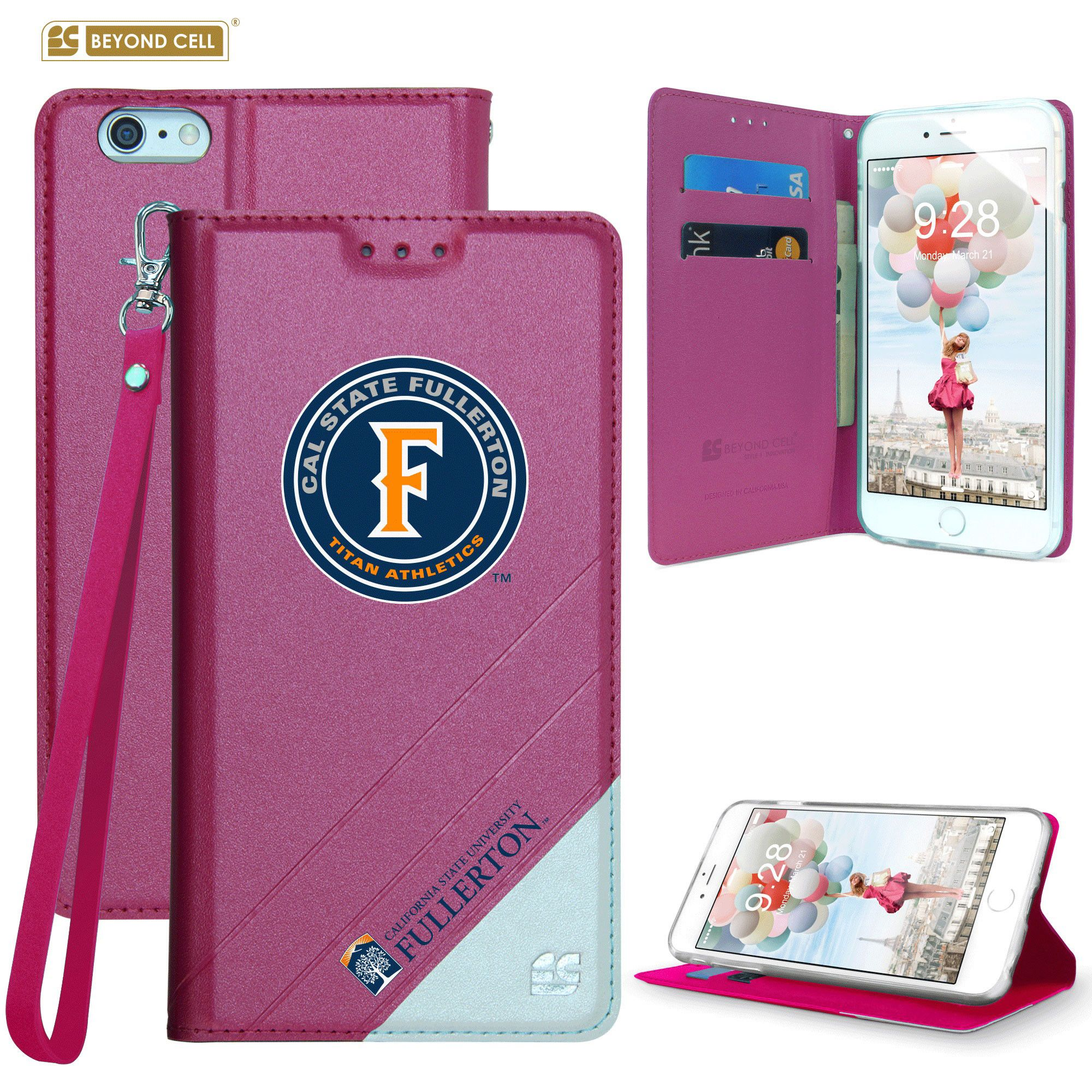Apple iPhone 6/6s - Licensed Cal State Fullerton Folding Wallet case with card slots and wristlet, Hot Pink