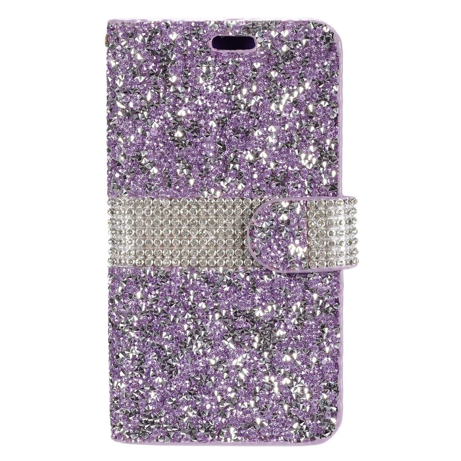 Apple iPhone 6/6s - Shimmering Rhinestone Phone Wallet Case, Purple