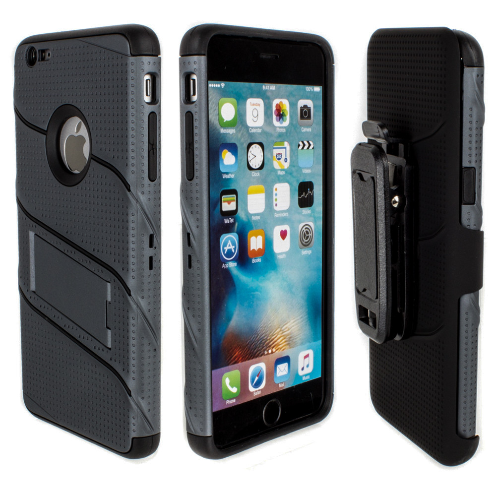 Apple iPhone 6/6s Plus - RoBolt Heavy-Duty Rugged Case and Holster Combo, Dark Gray/Black