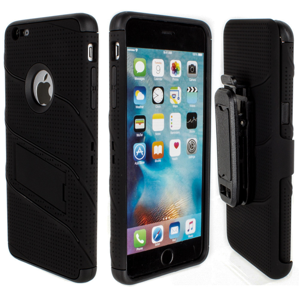 Apple iPhone 6/6s Plus - RoBolt Heavy-Duty Rugged Case and Holster Combo, Black