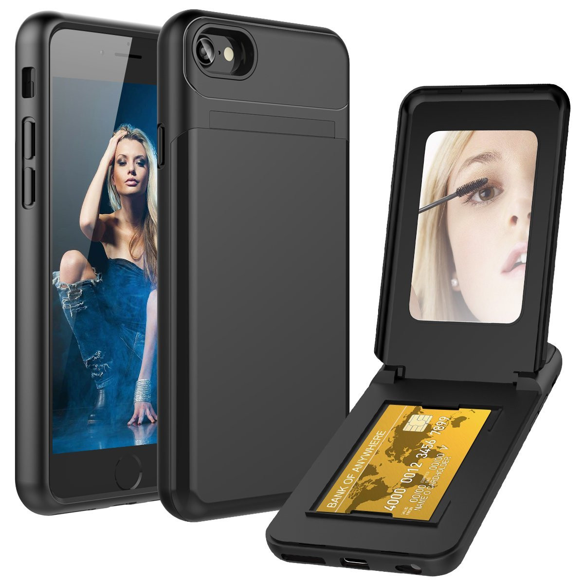 Apple iPhone 6s Plus -  Hard Phone Case with Hidden Mirror and Card Holder Compartment, Black
