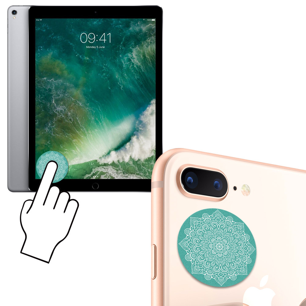 Apple iPhone 6s -  Mandala Design Re-usable Stick-on Screen Cleaner, Teal Green