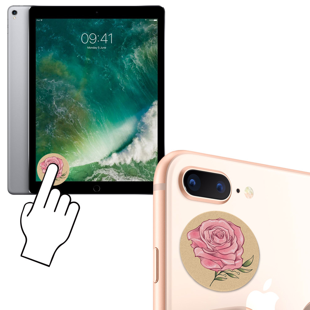 Apple iPhone 6s -  Large Rose Design Re-usable Stick-on Screen Cleaner, Pink