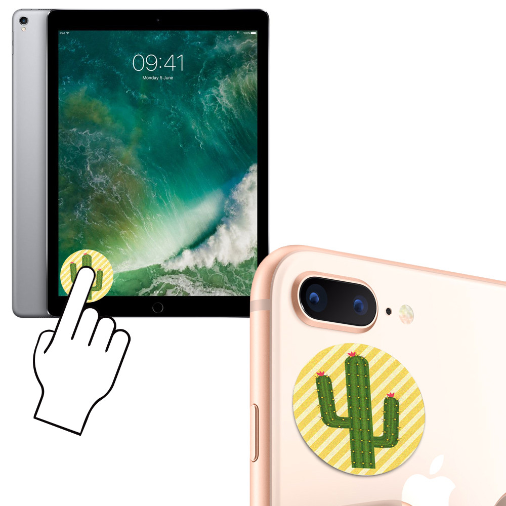 Apple iPhone 6s -  Cactus Design Re-usable Stick-on Screen Cleaner, Green/Yellow