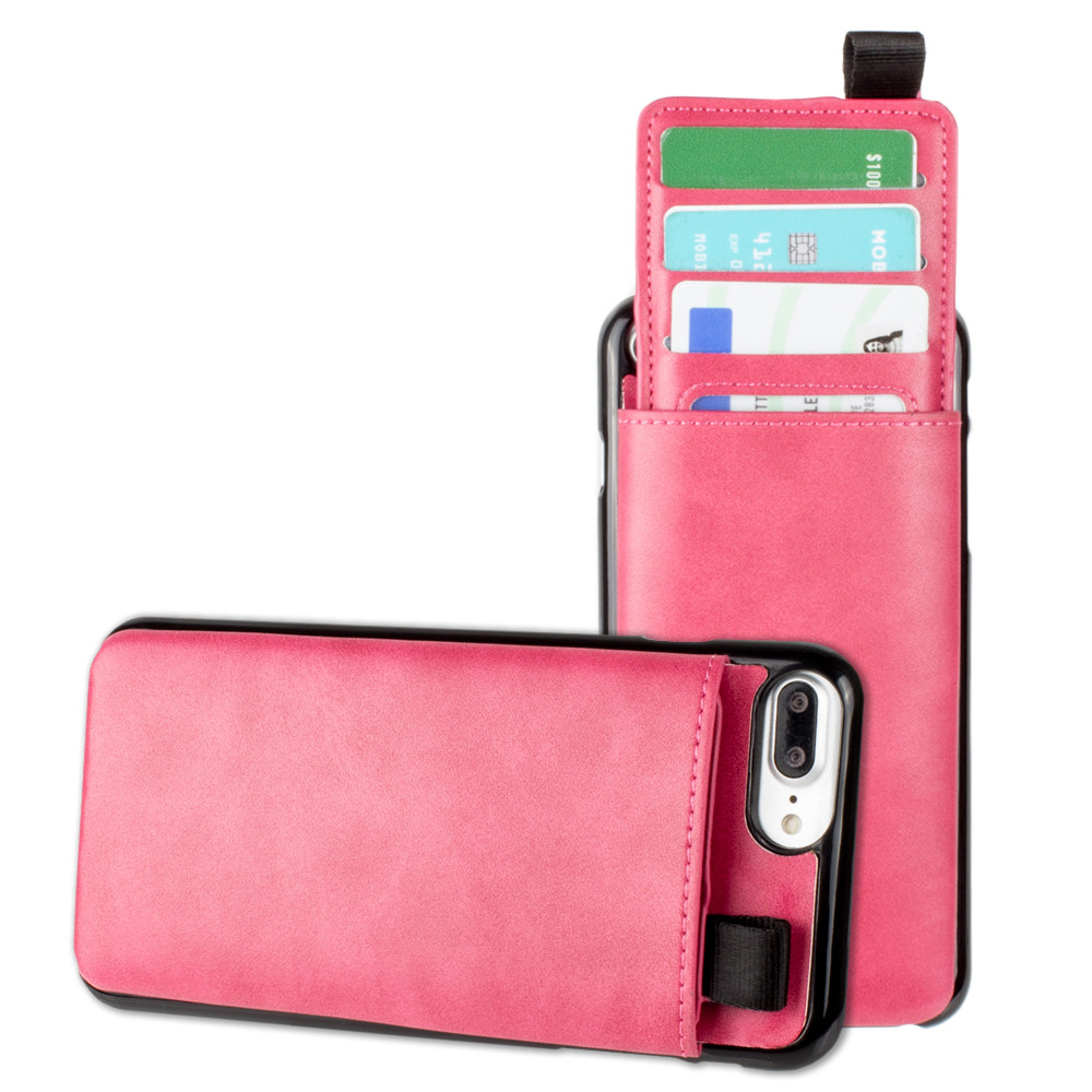 Apple iPhone 6s Plus -  Vegan Leather Case with Pull-Out Card Slot Organizer, Hot Pink