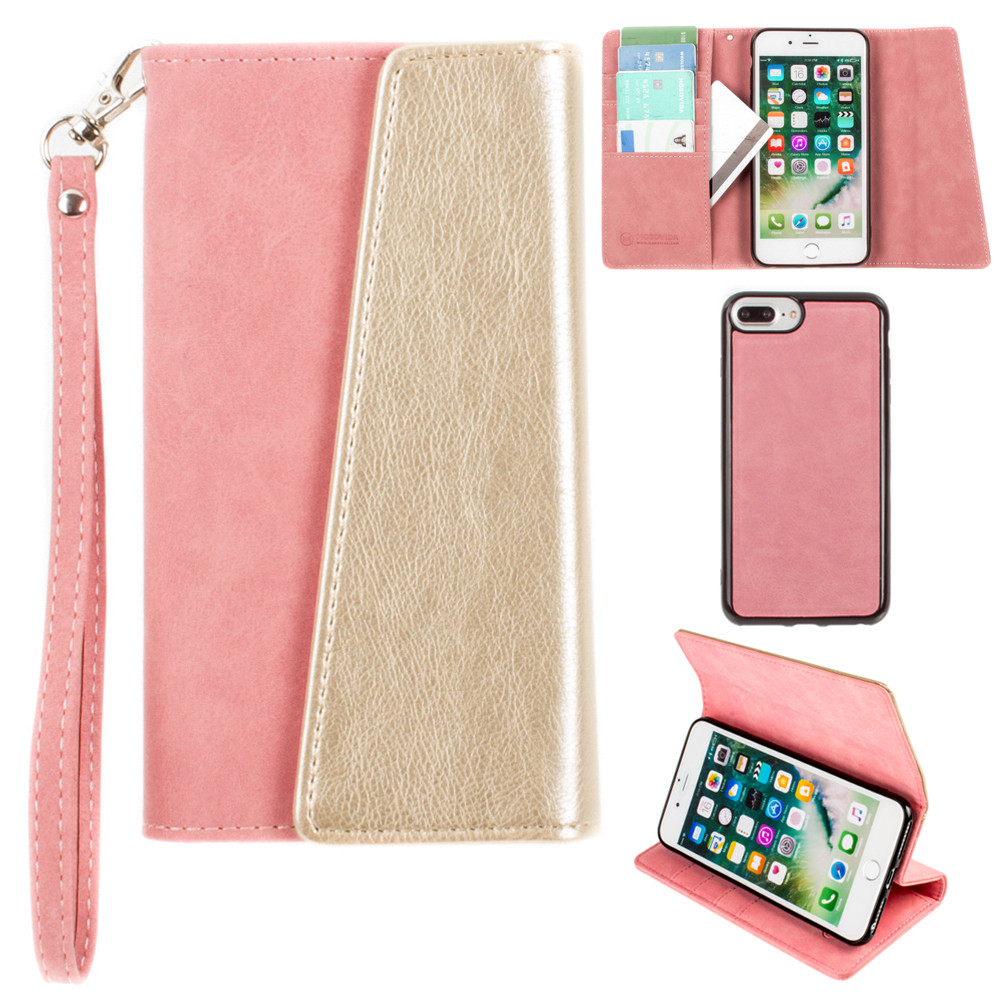 Apple iPhone 6s Plus -  UltraSuede Metallic Color Block Flap Wallet with Matching detachable Case and strap, Pink/Gold