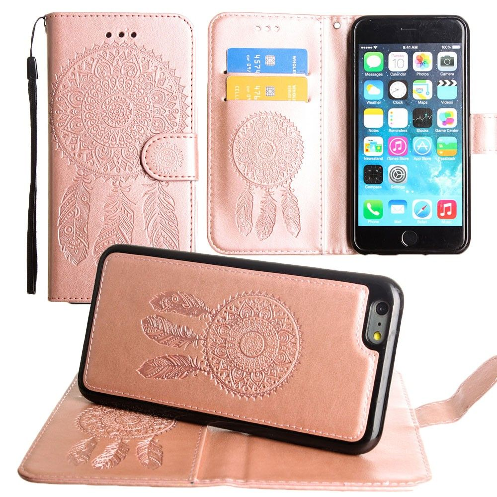 Apple iPhone 6s Plus -  Embossed Dream Catcher Design Wallet Case with Detachable Matching Case and Wristlet, Rose Gold