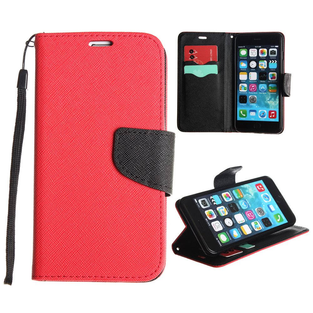 Apple iPhone 6s Plus -  Premium 2 Tone Leather Folding Wallet Case, Red/Black