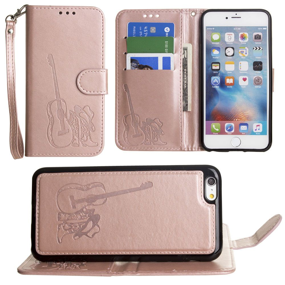 Apple iPhone 6 / 6s PLUS - Country Western Wallet with Matching Detachable Magnetic Phone Case and Wristlet, Rose Gold