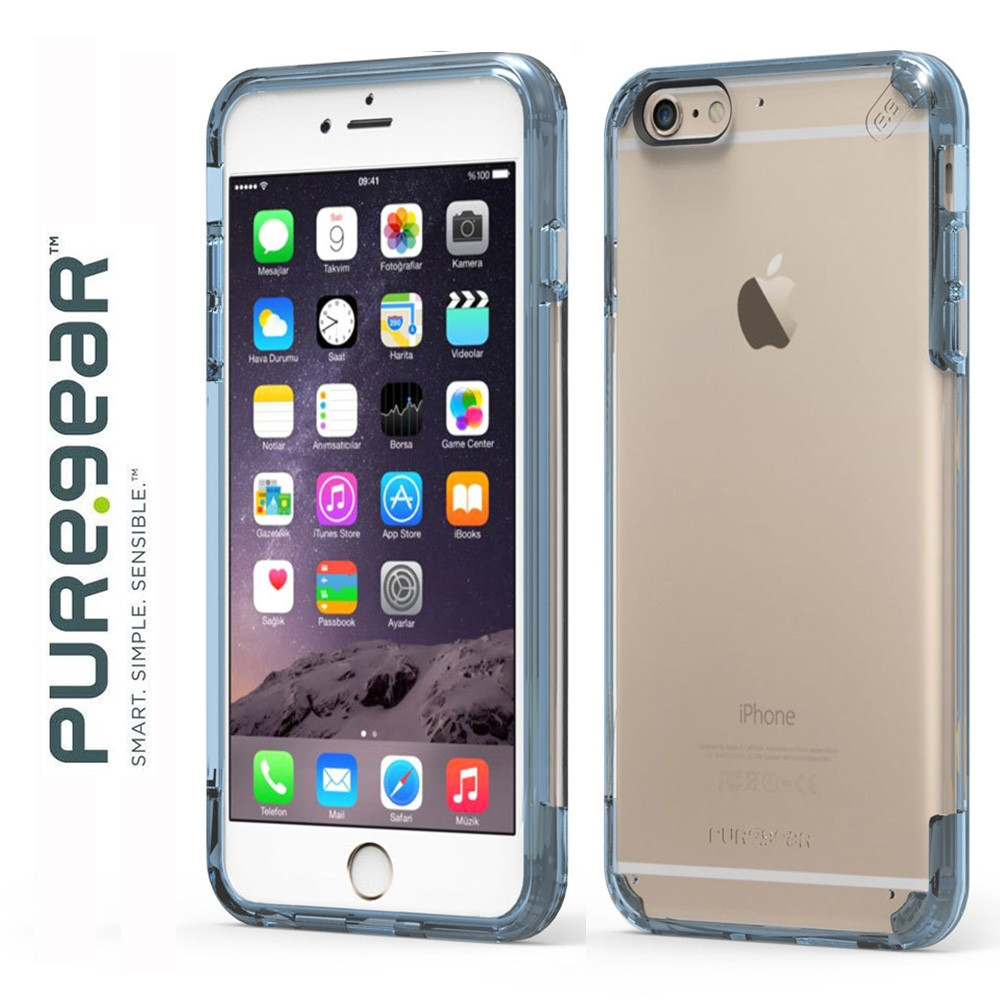 Original PureGear Apple iPhone 6/6s Plus Slim Shell Pro Rugged Case, Clear/Blue