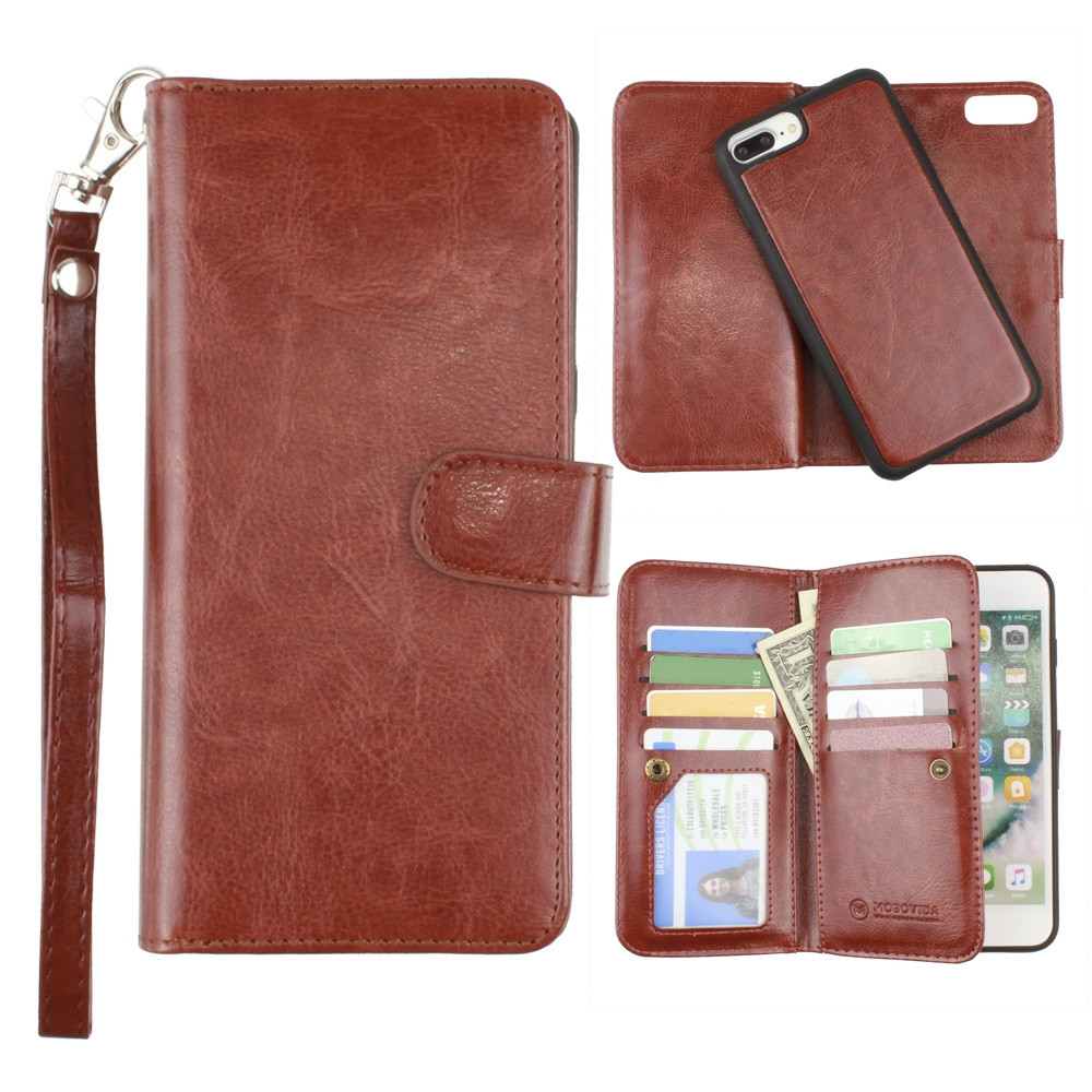 Apple iPhone 6s Plus -  Multi-Card Slot Wallet Case with Matching Detachable Case and Wristlet, Brown