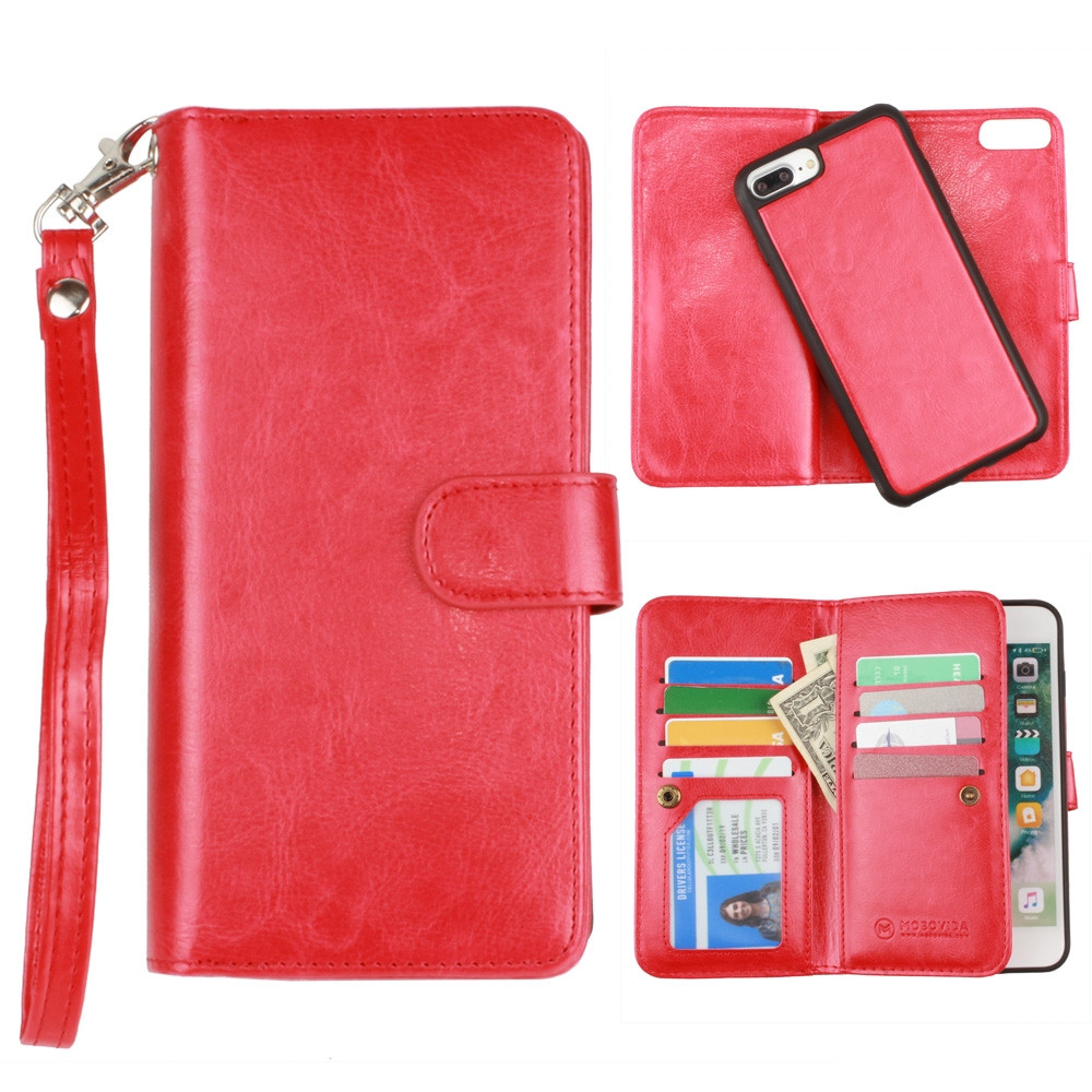 Apple iPhone 6s Plus -  Multi-Card Slot Wallet Case with Matching Detachable Case and Wristlet, Red