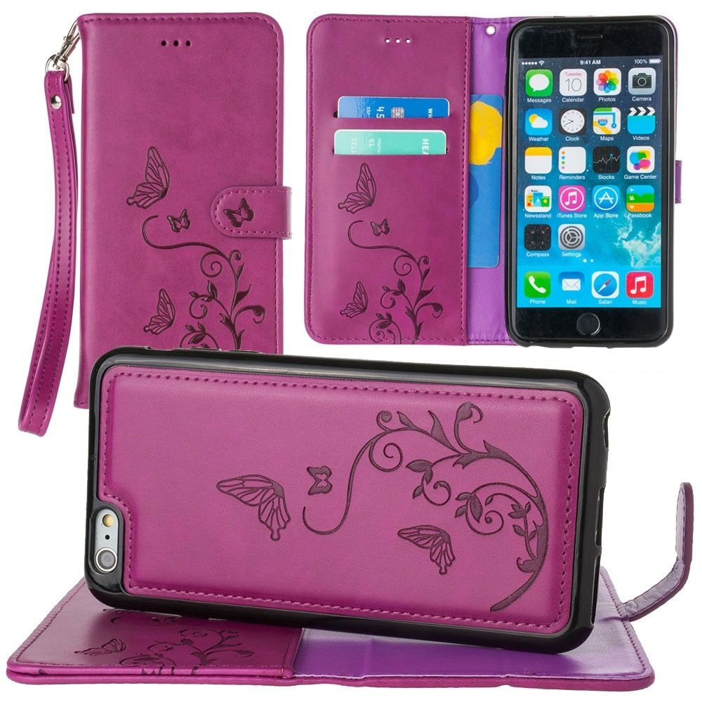 Apple iPhone 6s Plus -  Embossed Butterfly Design Wallet Case with Detachable Matching Case and Wristlet, Magenta