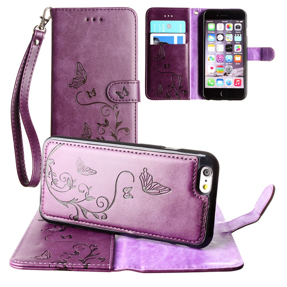 Apple iPhone 6s Plus -  Embossed Butterfly Design Wallet Case with Detachable Matching Case and Wristlet, Purple