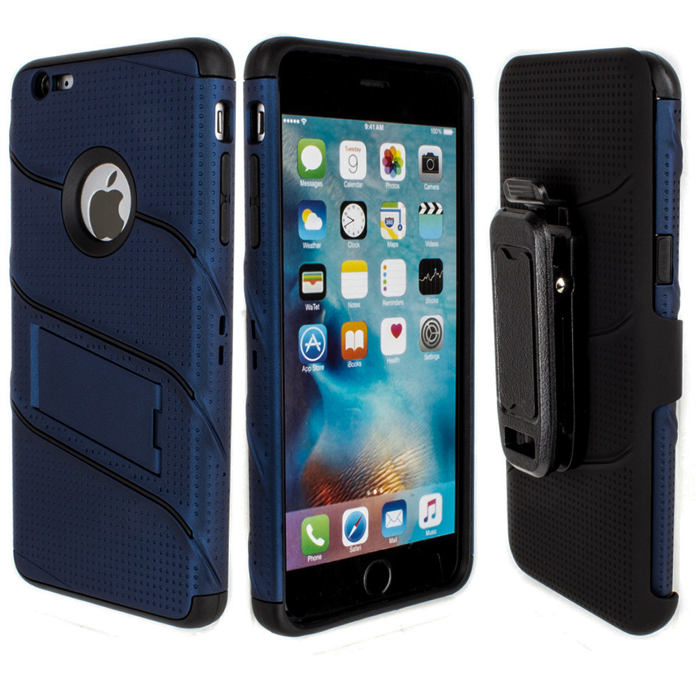 Apple iPhone 6/6s Plus - RoBolt Heavy-Duty Rugged Case and Holster Combo, Navy Blue/Black