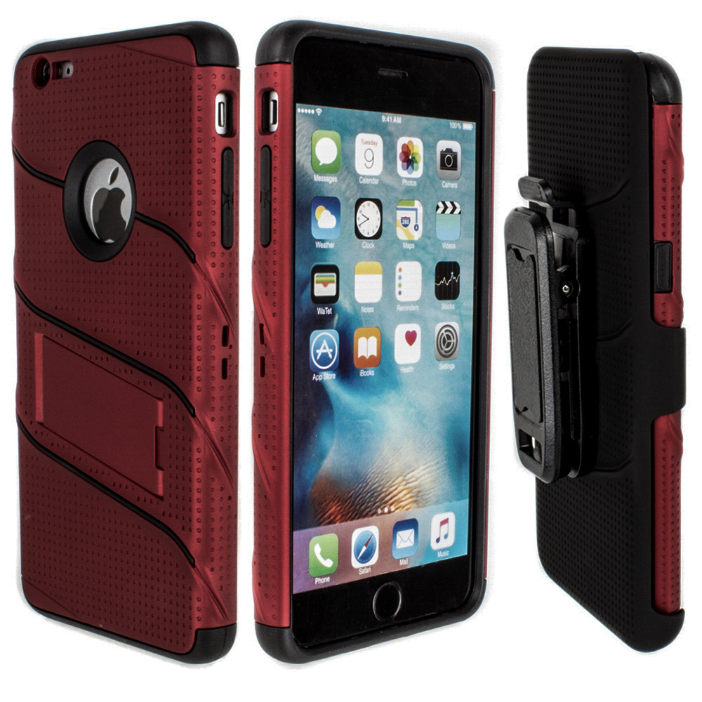 Apple iPhone 6/6s Plus - RoBolt Heavy-Duty Rugged Case and Holster Combo, Red/Black