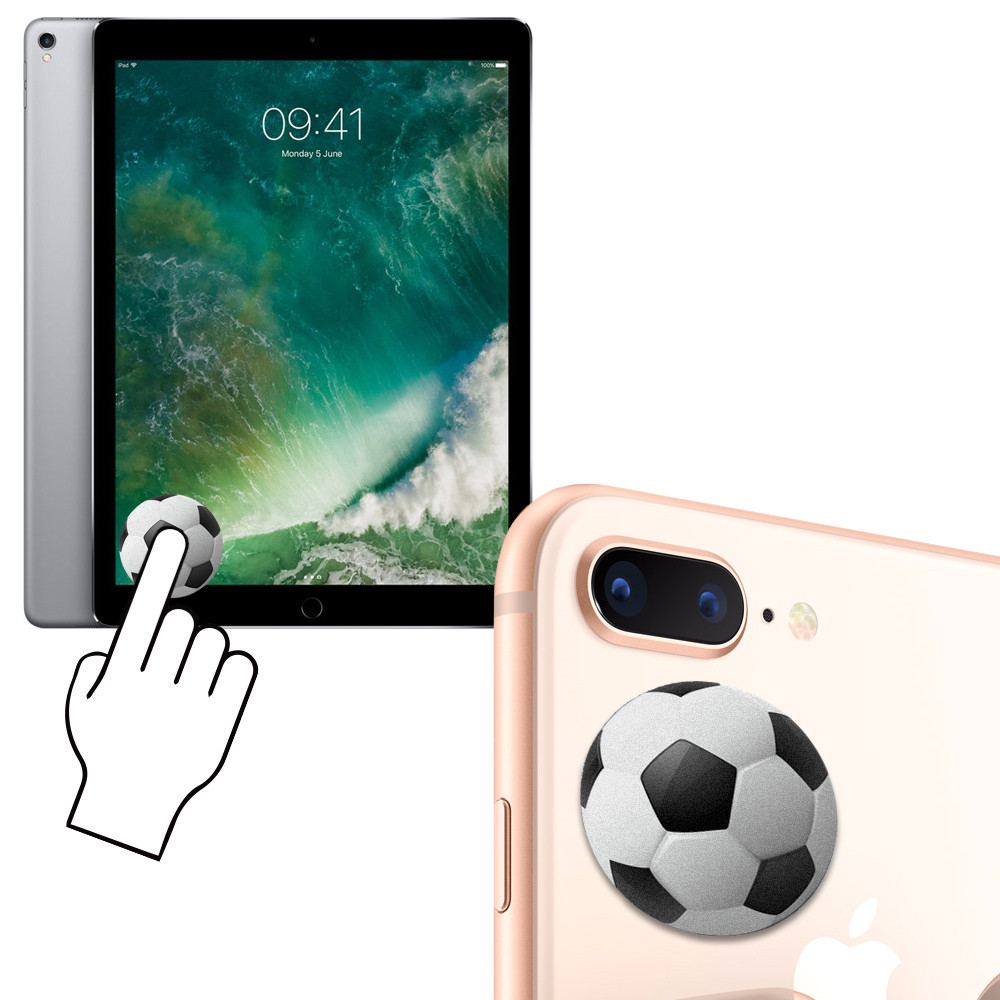 Apple iPhone 6s Plus -  Soccer Ball Design Re-usable Stick-on Screen Cleaner, White/Black
