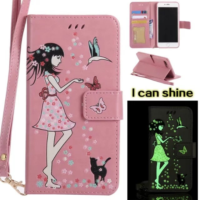Luminous 3D Girl Pattern PU Leather iPhone Case-Wallet Case with Cash Slots Stand Wristlet Strap-Pink for iPhone 678/ plus/X