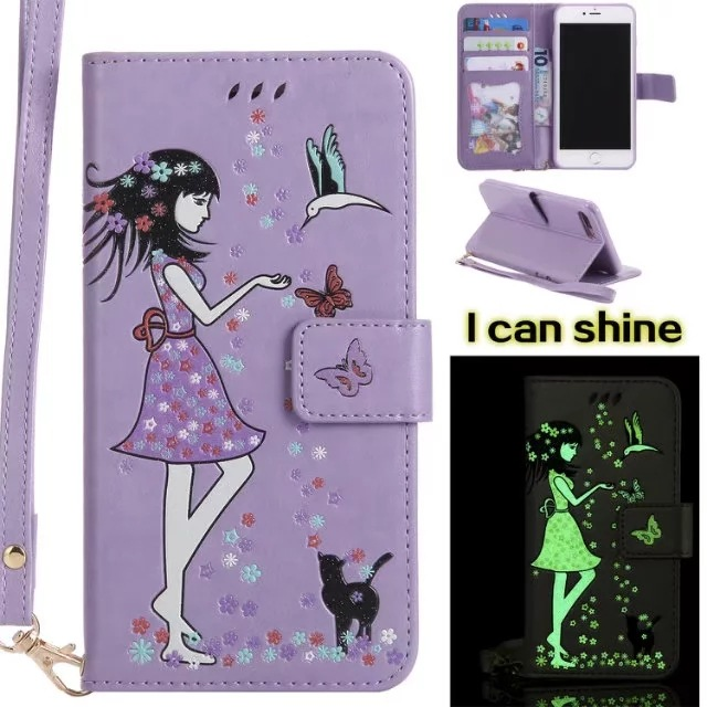Luminous 3D Girl Pattern PU Leather iPhone Case-Wallet Case with Cash Slots Stand Wristlet Strap-Purple for iPhone 6/6 plus/6s/6s plus/7/7 plus/8/8 plus/X