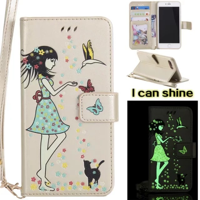 Luminous 3D Girl Pattern PU Leather iPhone Case-Wallet Case with Cash Slots Stand Wristlet Strap -Gold for iPhone 6/6 plus/6s/6s plus/7/7 plus/8/8 plus/X