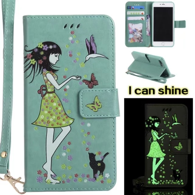 Luminous 3D Girl Pattern PU Leather iPhone Case-Wallet Case with Cash Slots Stand Wristlet Strap -Green for iPhone 6/6 plus/6s/6s plus/7/7 plus/8/8 plus/X