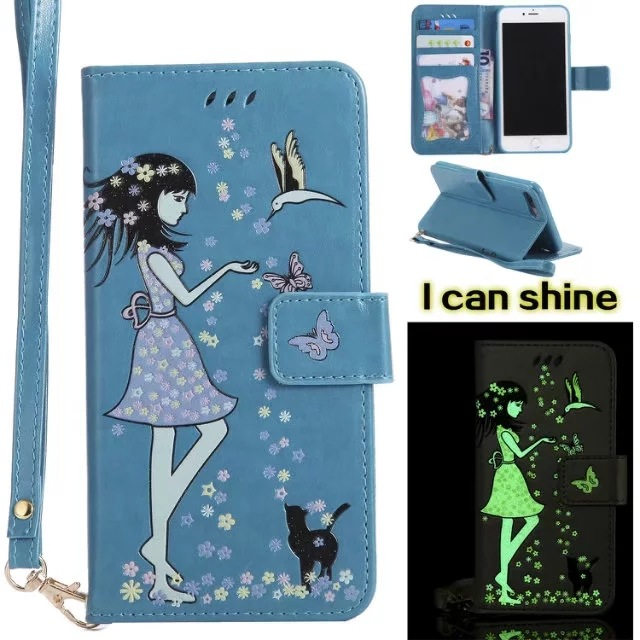 Luminous 3D Girl Pattern PU Leather iPhone Case-Wallet Case with Cash Slots Stand Wristlet Strap-Blue for iPhone 6/6 plus/6s/6s plus/7/7 plus/8/8 plus/X