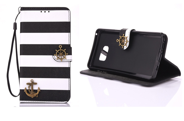 Fashion Pirate Ship Stripes Premium PU Leather Wallet phone Case with Kickstand for iPhone 678/plus/X