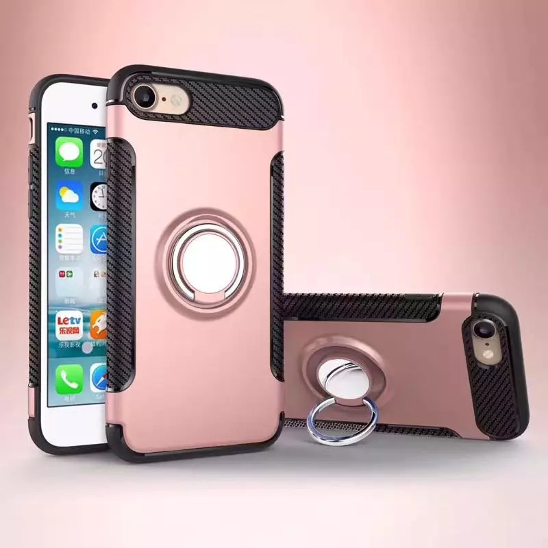 Shockproof Armor Ring Holder Stand Case + Car Vent Mount Holder For iPhone 678/plus/X