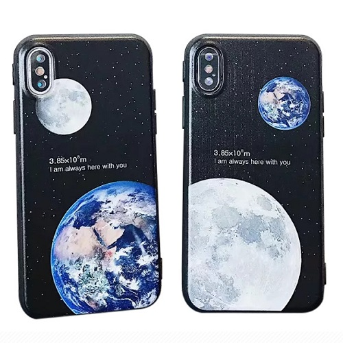 Creative iPhone Couple case Moon & Earth for Love Pattern Best Friend Fashion Couple Case Soft TPU for iPhone 6 7/Plus/X