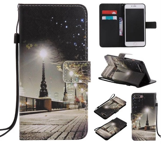 iPhone 6 7 8/plus/X Wallet Case Premium PU Leather Painted City Sightseeing Magnetic Closure Stand Flip Protective Case