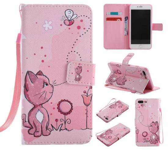 iPhone 6 7 8/plus/X Wallet Case Premium PU Leather Painted Cat Magnetic Closure Stand Flip Protective Case