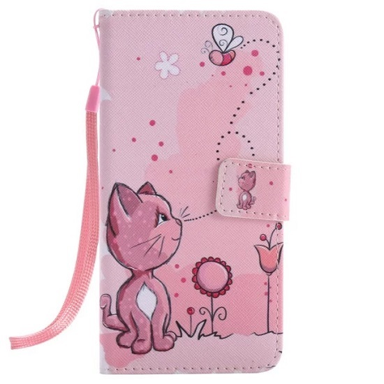 promo code 88028 633d9 Best Buy Creative Painted Pink Cat Pattern Leather iPhone Cases