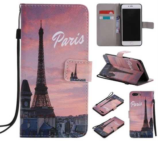 iPhone 6 7 8/plus/X Wallet Case Premium PU Leather Painted Eiffel Tower Magnetic Closure Stand Flip Protective Case