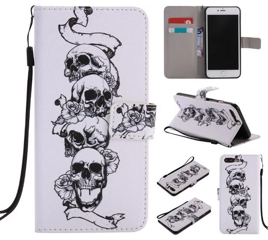 iPhone 6 7 8/plus/X Wallet Case Premium PU Leather Painted Skull Magnetic Closure Stand Flip Protective Case