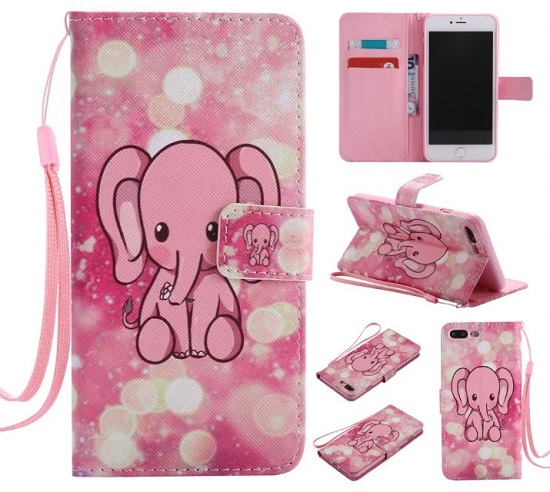 iPhone 6 7 8/plus/X Wallet Case Premium PU Leather Painted Pink Elephant Magnetic Closure Stand Flip Protective Case