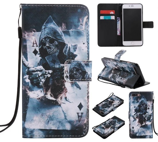 iPhone 6 7 8/plus/X Wallet Case Premium PU Leather Painted Magician Magnetic Closure Stand Flip Protective Case