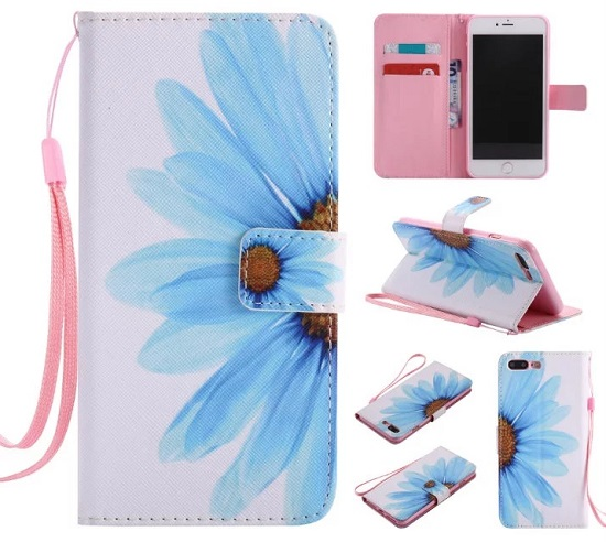 iPhone 6 7 8/plus/X Wallet Case Premium PU Leather Painted Sun Flower Magnetic Closure Stand Flip Protective Case