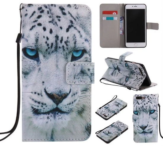 iPhone 6 7 8/plus/X Wallet Case Premium PU Leather Painted White Leopard  [Card Holder] Magnetic Closure Stand Flip Protective Cover Case