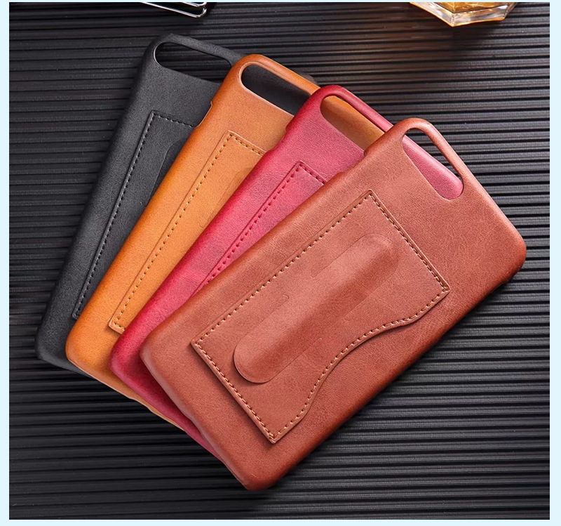 Luxury PU Leather iPhone Cases with Card Pocket and Slim Kickstand Cover for iPhone 6 7 8/Plus/X