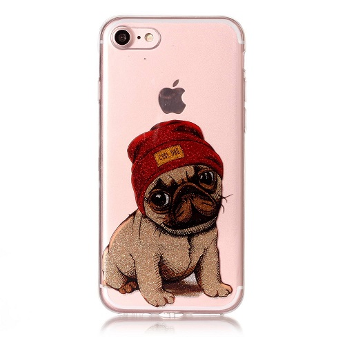 Pugs Dog Flash Powder Gitter Soft TPU Back Cover Cute Dog Transparent Phone Bag for iPhone 6/7/6s/Plus